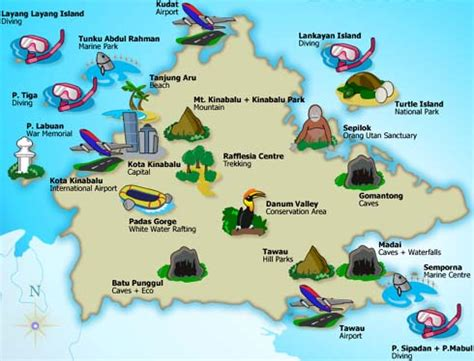 sabah maps malaysia travel guide