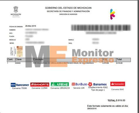 formato pago de refrendo formato de pago de tenencia vehicular michoacan 2016