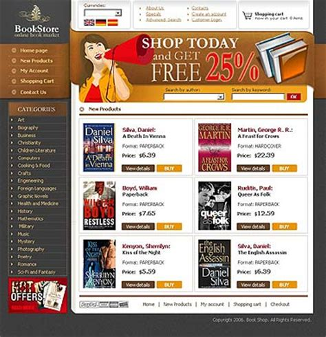 Book Store Html Website Template Best Website Templates Bookstore Website Template