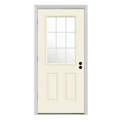 Jeld Wen 31 438 In X 81 75 In 9 Lite Vanilla Painted Outswing Front Door