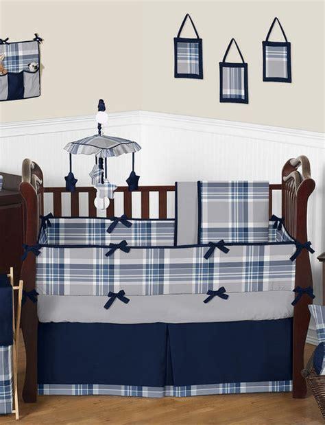 Plaid Boy Crib Bedding Sweet Jojo Navy Blue And Gray Plaid Baby Boys Crib Bedding Set