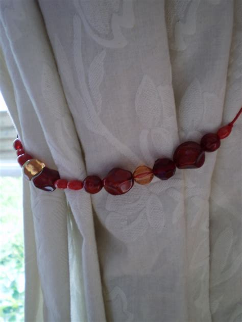 red curtain tie backs red beads curtain tie backs diy pinterest