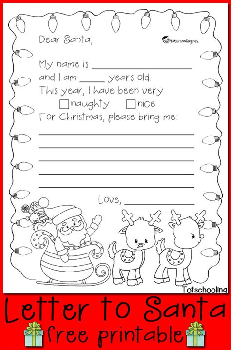 coloring pages of christmas list free letter to santa printable totschooling toddler
