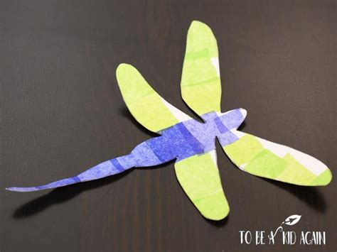 Dragonfly Paper Craft - tissue paper dragonfly craft to be a kid again