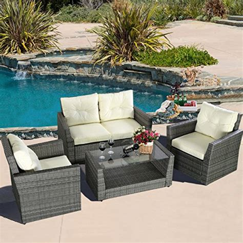 grey wicker outdoor furniture ghp 4 pcs gray wicker rattan sofa furniture set patio garden w cushioned seat home garden