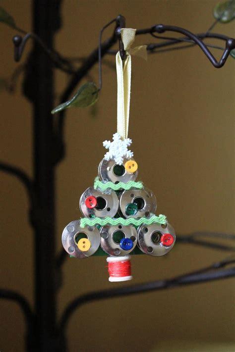 handmade sewing bobbin christmas tree ornament