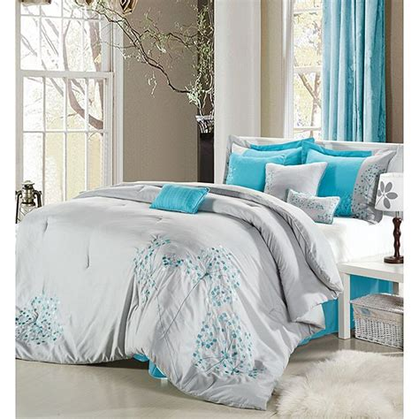 light gray teal bedding the bedroom