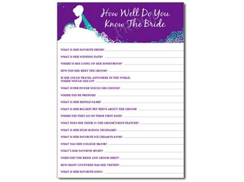 bridal shower how well do you the questions how well do you the shower personalized cards pdf on luulla