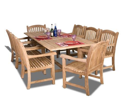 Amazonia Teak Newcastle 9 Pc Dining Set Teak Patio Dining Set