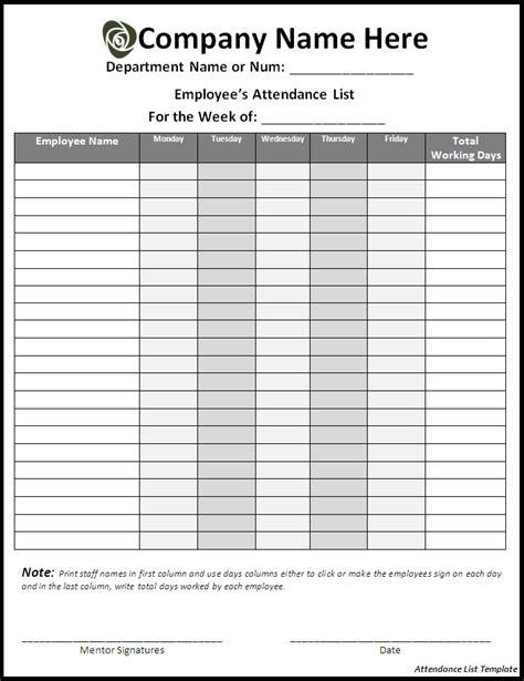 meeting attendance list template attendance listtemplate 点力图库