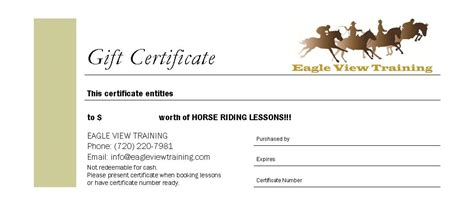printable gift certificates with horses horseback riding lesson gift certificate template