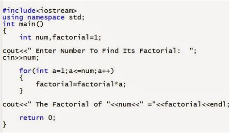 numbers pattern in c language program to find factorial of number in c c