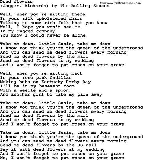 songs of a dead bruce springsteen song dead flowers lyrics