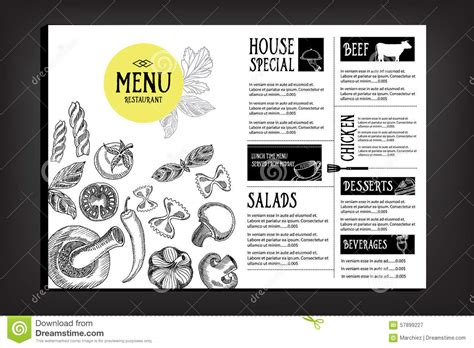 graphic design cafe menu cafe menu restaurant brochure food design template stock