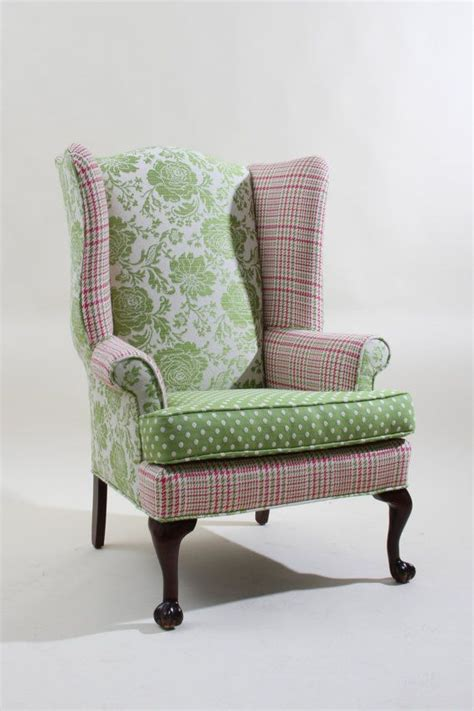 Plaid Wingback Chair by Vintage Refurbished Pink And Green Wingback By