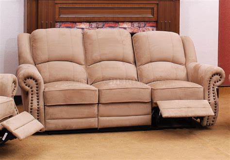 recliner fabric sofas beige suede fabric traditional reclining sofa w optional items