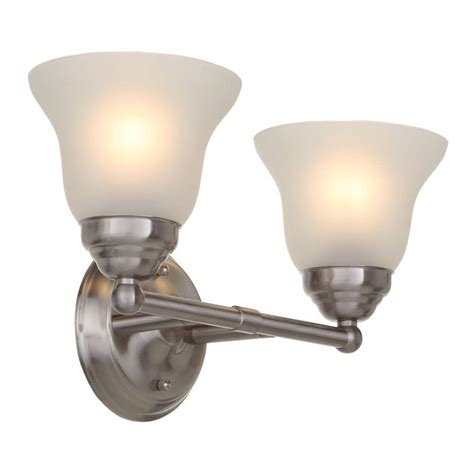 4 bulb bathroom light fixtures hton bay 2 light brushed nickel vanity light with