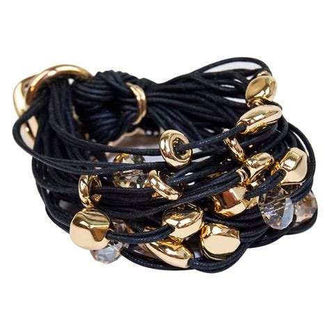 Black Gold Nuggets & Crystals Bracelet by Gillian Julius