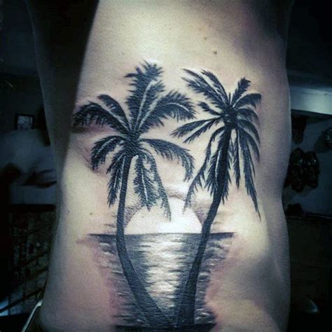 palm tree sunset tattoo designs 100 palm tree tattoos for tropical design ideas