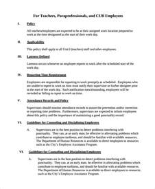 Staff Policy Template by Sle Attendance Policy 6 Documents In Pdf