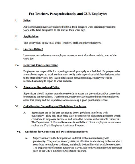 staff policy template sle attendance policy 6 documents in pdf