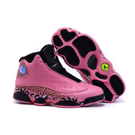 womens jordans basketball shoes air 13 leopard pattern print pink basketball