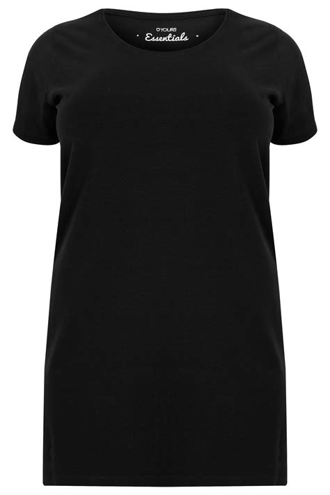 Kaos Longline T Shirt Basic Black 2 black longline t shirt with scooped neck plus size 16 to 36