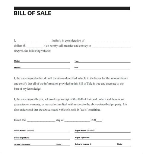bill of sale template for a car sale of vehicle receipt vehicle bill of sale car sale