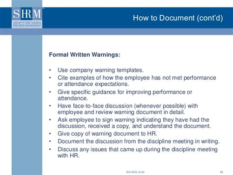 Documentation Training For Supervisors By Shrm Documenting Employee Performance Template