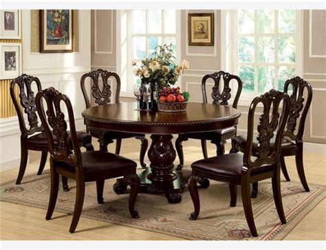 cherry wood dining room set f 7 pc brown cherry wood round dining set pedestal chairs