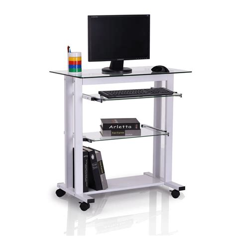 Computer Desk Cart Homcom 33 Quot Contemporary Glass Top Portable Workstation Desk Cart With Shelves White Aosom