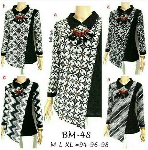 Atasan Wanita Kemeja Hitam Polos 7 8 jual blouse batik kombinasi embos modern baju kerja