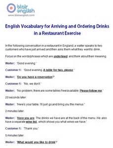 restaurant amp food english vocabulary class worksheets