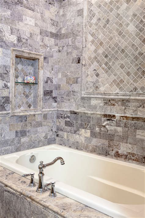 Bathroom Wall Tile Stores A Claros Silver Travertine Bathroom Traditional