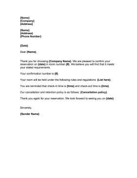 printable reservation confirmation letter