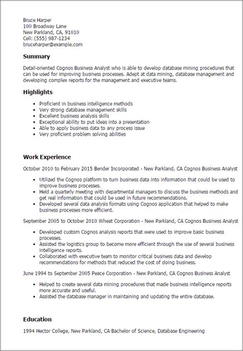 Business Analyst Resume Summary by 1 Cognos Business Analyst Resume Templates Try Them Now