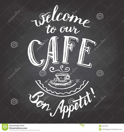 welcome to our cafe chalkboard printable stock vector