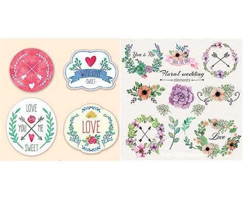 cute wedding decoration vector free download floral wedding badges set vector free download
