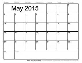 Blank Calendars 2015 Blank May 2015 Calendar To Print
