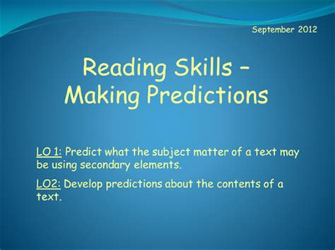 list please predict who the reading skills making predictions resources tes