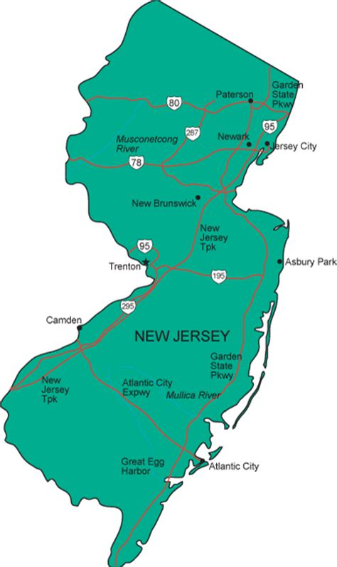 map new jersey image gallery new jersey state map
