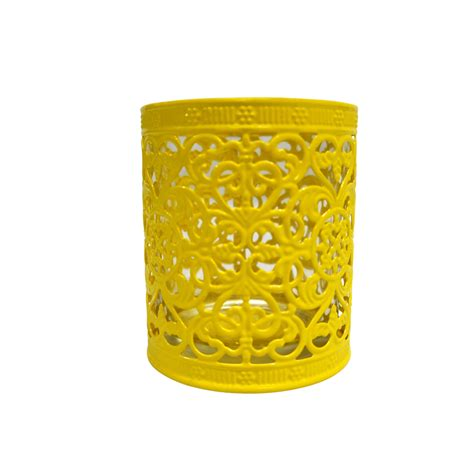 decorative cup candle holder yellow