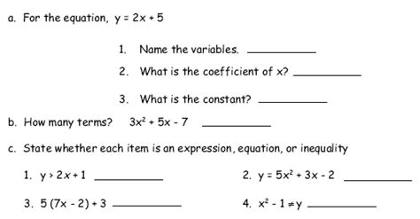 7th Grade Expressions And Equations Worksheets by Math Pre Algebra Worksheets 7th Grade Algebra 1