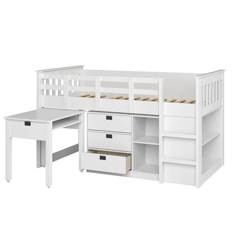 Single Bunk Bed With Desk Corliving Bmg 310 B Loft Bed With Desk And Storage Single Snow White