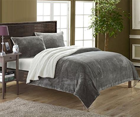 soft grey comforter chic home 3 piece evie microplush mink like super soft