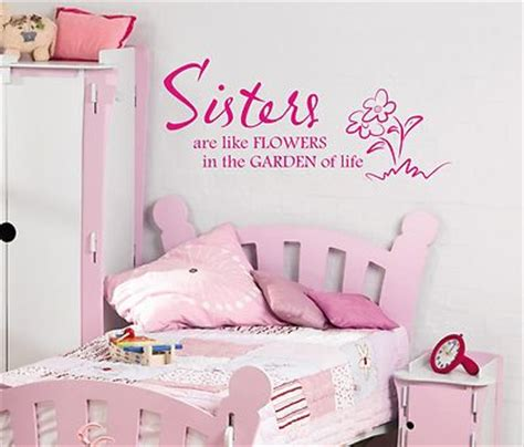 wall art for girls bedroom sisters are like flowers wall art sticker quote childrens