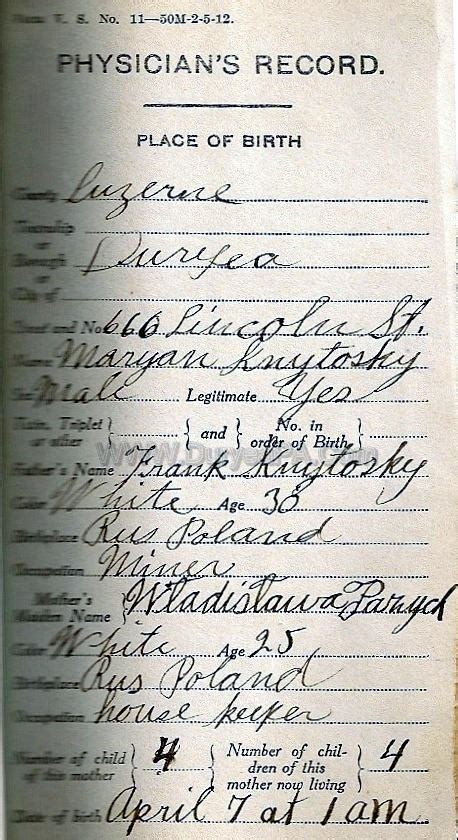 Birth Records In Pa Duryea Pennsylvania Historical Homepage Wanda 1910 To 1931 Birth Records Page