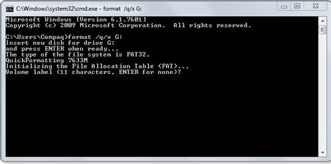 format a flash disk using command prompt format a pen drive using the command prompt in windows