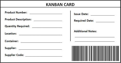 Kanban Lean Toolsetlean Toolset Kanban Card Template