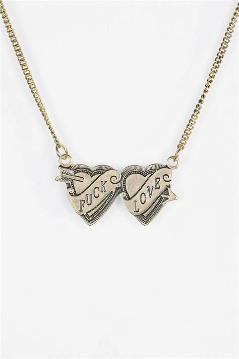 Kenneth Lanes Lipstick Necklace At Outfitters by Outfitters Two Hearts Engraved Necklace In Gold Lyst